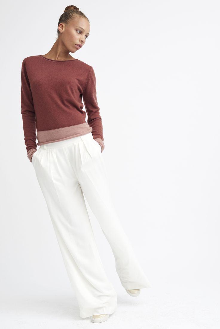 raffinierter pullover double sleeves. zweifarbig aus purem cashmere.  handgefertigt in nepal.