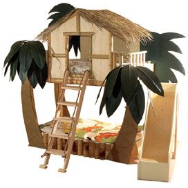 Tropical Surf Shack Bunk Bed...how cool would this be for a playhouse, think i would turn the bed into a sandpit