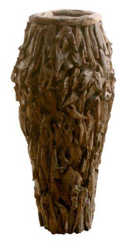 Vase - Dekovase gewachst aus Teakholz Massivholz groß