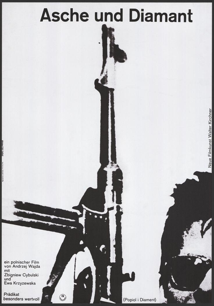 West German poster for ASHES AND DIAMONDS / Popiół i diament (Andrzej Wajda, Poland, 1958)