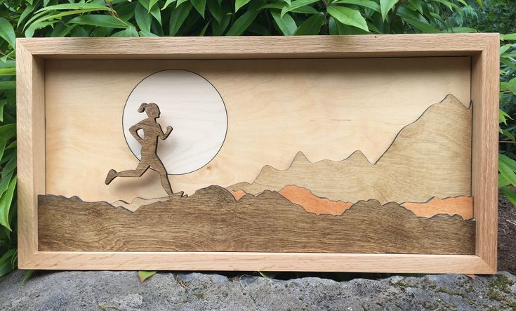 3D Laser Cut Shadow Box Wood Scene Inlaid / Female Runner / Cross Country / Outdoors / Moon / Handcrafted / Mountains / Racer / Jogger