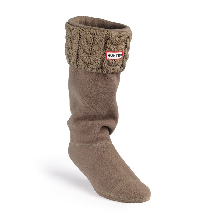 New Chunky Cable Cuff Welly Socks - Cocoa   Hunter Boot