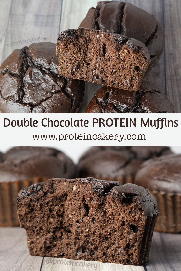 Double Chocolate Protein Muffins - low carb, high protein