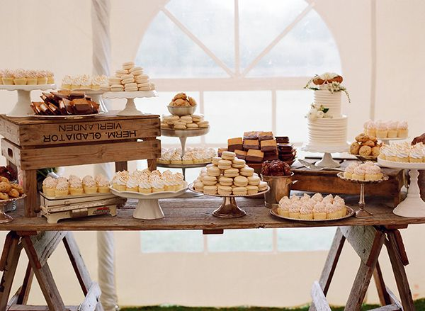 Beautiful preppy/rustic dessert bar! S'mores, macarons, cupcakes, and more from @persephonebaker! Photo: @carrie6780
