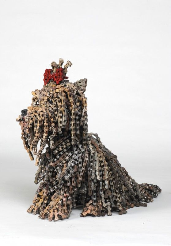Nirit Levav is an Israeli artist that believes in using the resources around her to create art. HOW! WOW! is a collection of dogs that she made entirely out of recycled bicycle parts.
