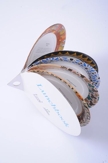 A brochure made of paper plates for a food sampling convention - genius!.