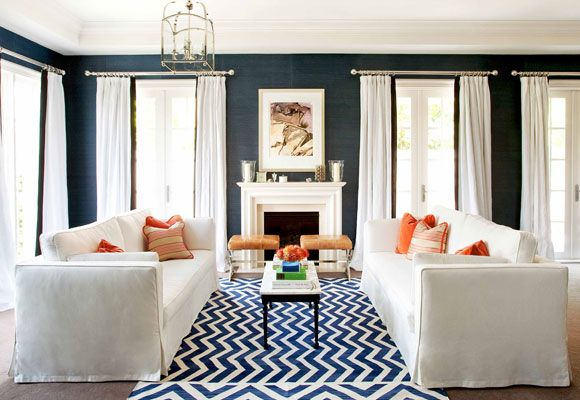 Symmetrical navyWall Colors, Curtains, Living Rooms, Blue Wall, Livingroom, Dark Walls, White, Rugs, The Navy