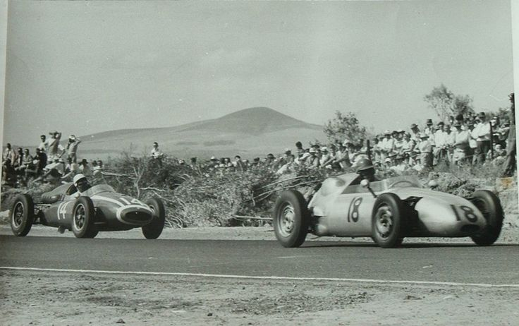 The Jennings Porsche being closely followed by a Cooper at Killarney raceway