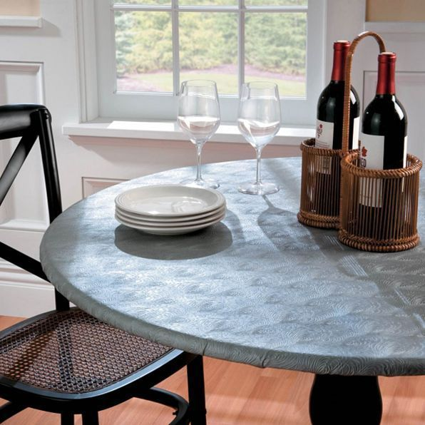 Embossed Metallic Round Elasticized Vinyl Table Cover Dining Kitchen 36 48 Dia Na Fitted Table Cover Vinyl Table Covers Table Covers