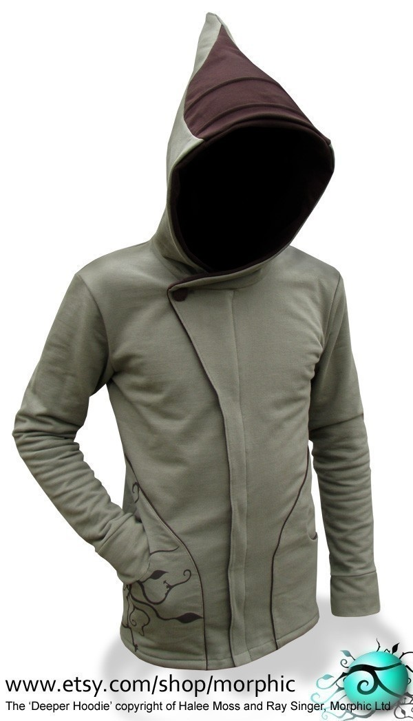 Mens Deeper Hoodie - Tussock Green / Chocolate - Made To Measure. $259.95, via Etsy.