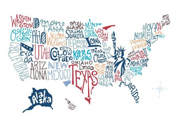 Estados Unidos Mapa Dibujado A Mano Vector Premium Mapa De Estados Unidos Manos Dibujo Mapa Dibujo