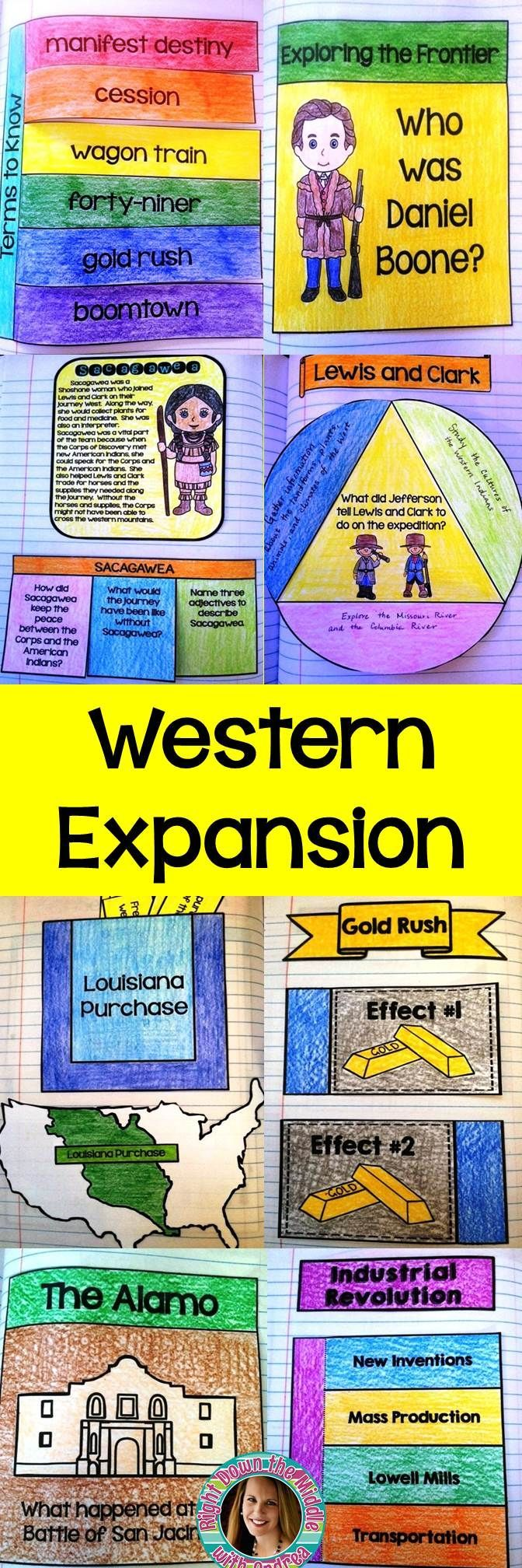 Westward Expansion Interactive Notebook...If you are teaching a unit on westward expansion in the United States, this is the perfect product for you! This resource comes with 12 templates, individual template directions, pictures of templates in an interactive notebook, a unit cover page, a table of contents page, and possible answers and information for each template. Students love using interactive notebooks! -Right Down the Middle with Andrea