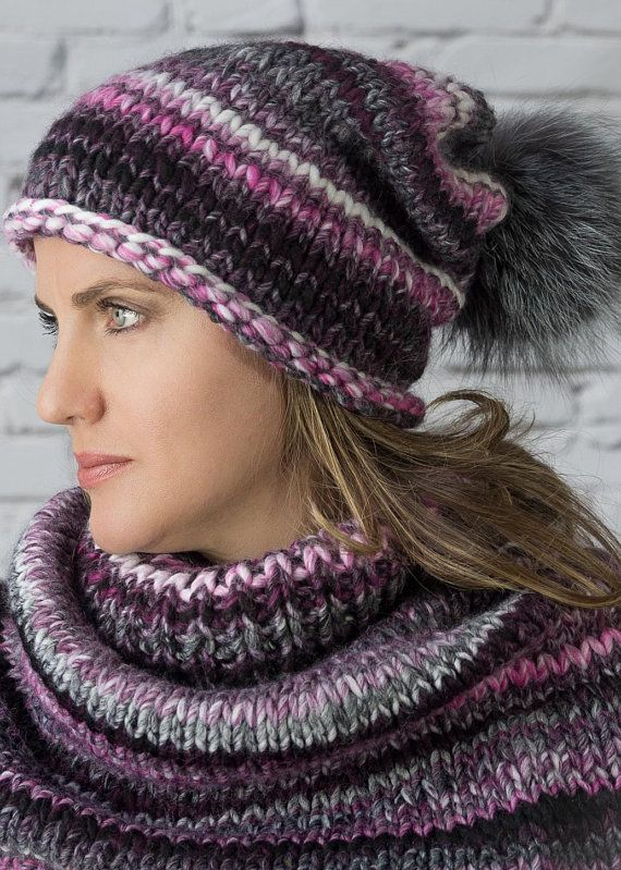 28feacb6c1fcf Chunky knit beanie and cowl Wool hand knitted set slouch hat