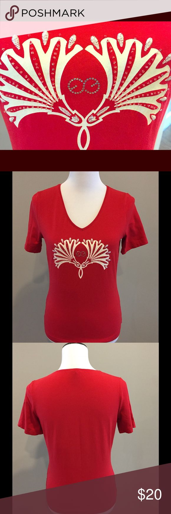 """Escada Sport Tshirt Escada Sport logo tshirt with stitch detail, beading and bling. Classic! About 23.5"""" long. Great condition; no rips, stains or missing embellishments. Escada Sport Tops Tees - Short Sleeve"""