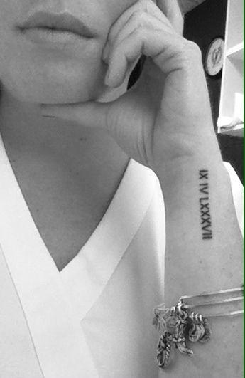 Wrist Roman numeral tattoo