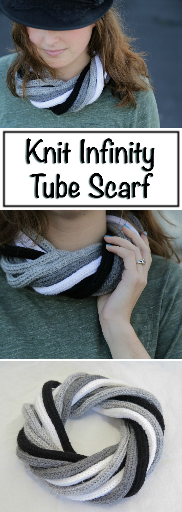 This cool-looking möbius scarf is actually made up of 12 two-foot tubes.