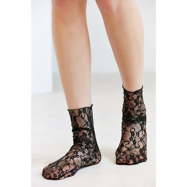 Out From Under Lace Mid-Calf Sock ($12) ❤ liked on Polyvore featuring intimates, hosiery, socks, 80s socks, lace hosiery, mid calf socks, lacy socks and calf length socks