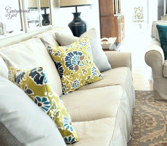 Simple No Sew Removable Pillow Covers made from Cloth Napkins