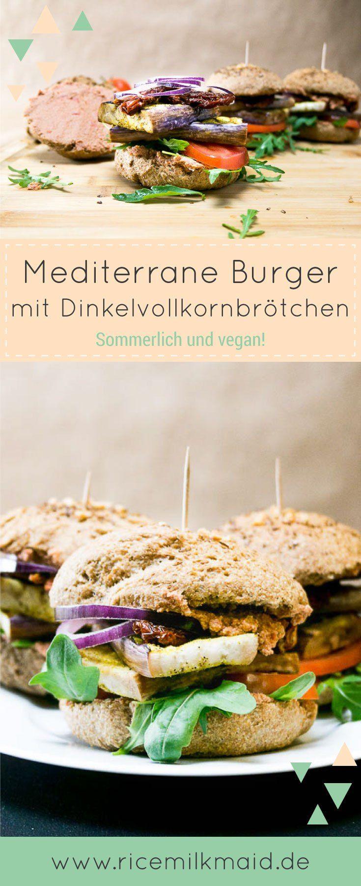 Mediterrane Burger mit selbst gemachten Dinkelvollkornbrötchen. Natürlich vegan und sommerlich frisch. Mit italiniesch angehauchter Tofucreme und gegrillter Aubergine, getrockneten Tomaten und Rucola. Ein veganer Traum! ♥ | Ricemilkmaid Blog