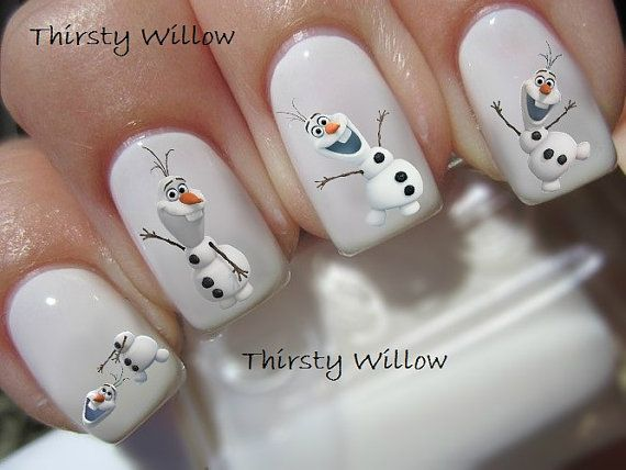 Frozen Olaf Nail Decals por ThirstyWillow en Etsy
