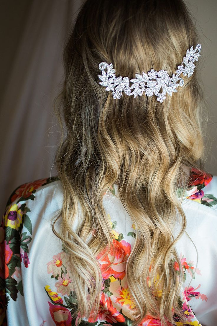 Wedding Beauty | Wedding Hair | Wedding Hair Clip | Wedding Hair Half Up | Vintage Wedding Clip | Lauren Conrad Inspired Wedding Clip | Rhinestone Wedding Clip | Bohemian | Boho | Crystal Cluster Flower Vine Leaf Bridal Bling | Bridal Hair Comb