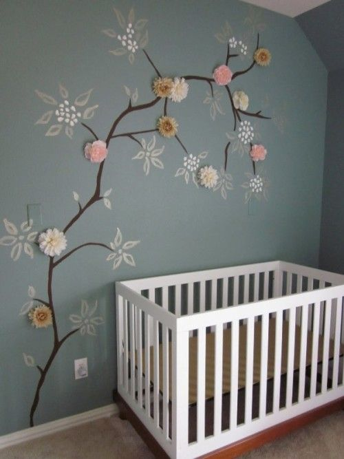 cosy nursery with 3D-flowers