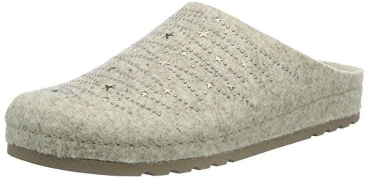 Rohde Riesa Ladies Slippers Mules 6008 Strass Felt Beige and Grey