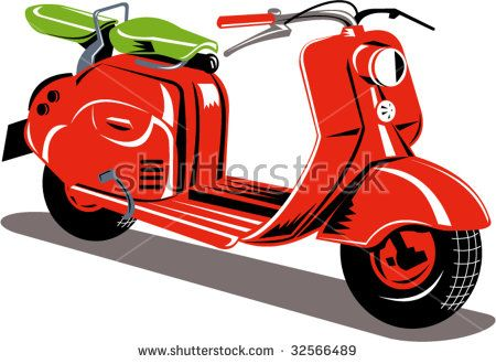 Red motor scooter isolated on white background #scooter #woodcut #illustration