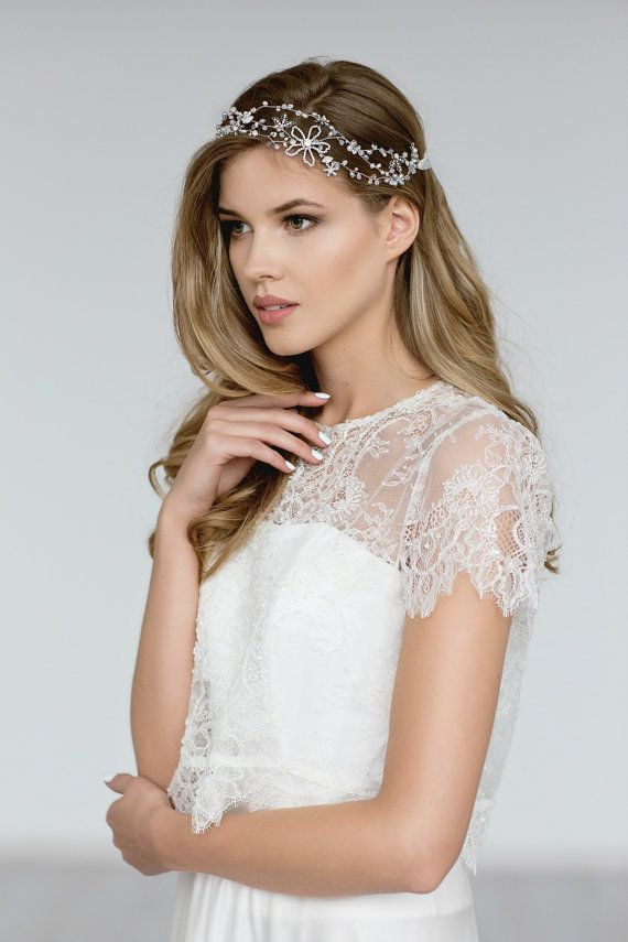 Bridal Cover Up, Scalloped Wedding Lace Top , Beaded Floral Lace Topper , Bridal Separates ,Ivory  Lace Top, Beaded Lace Jacket - EMMA