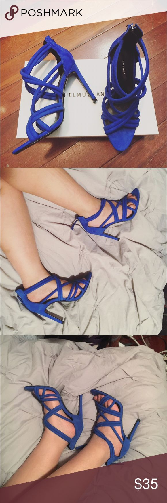 Zara blue strappy heels Size 37, only tried on. Those heels add a pop of color to any outfit, from casual to dressy :) Zara Shoes Heels