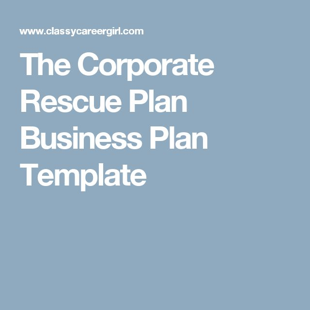 The Corporate Rescue Plan Business Plan Template