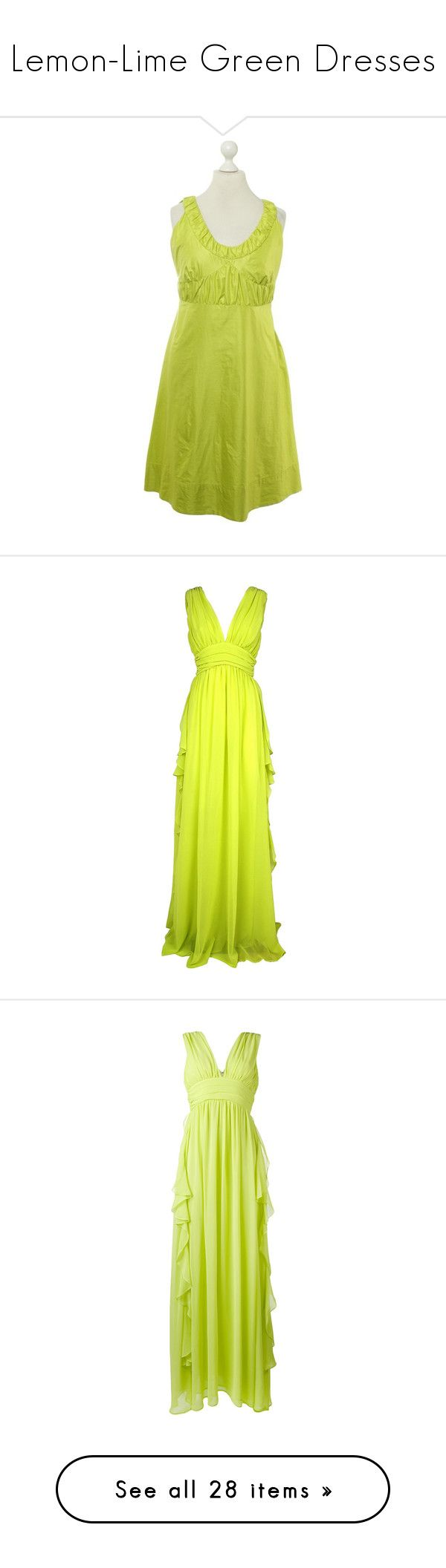 """""""Lemon-Lime Green Dresses"""" by tegan-b-riley on Polyvore featuring dresses, green, side zipper dress, green summer dress, summer dresses, pre owned dresses, green dress, gowns, verde and womenclothingdresses"""