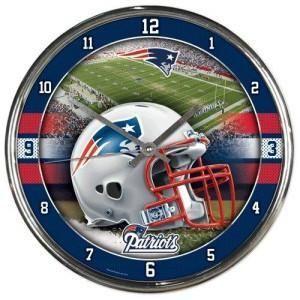 New England Patriots Clock Round Wall Style Chrome