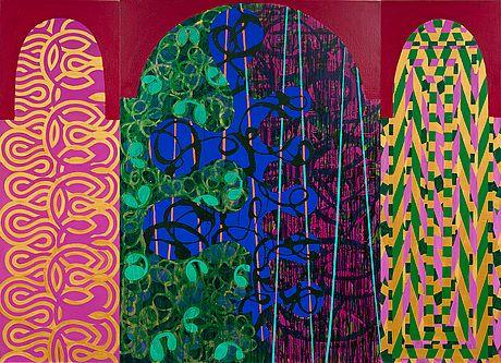 Mari Rantanen: One Side of Paradise, 1990, triptyykki, öly kankaalle, 183x61 + 183x132 + 183x61 cm - Bukowskis Contemporary F178