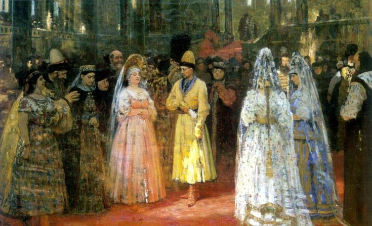 Choosing a Bride for a Grand Duke, 1884 by Ilya Repin. Realism. genre painting. Perm State Art Gallery, Perm, Russia