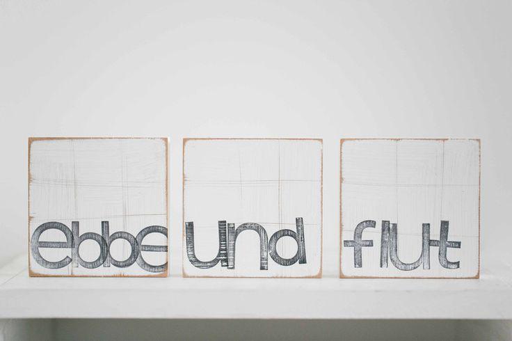 """Buchstaben & Schriftzüge - Wandbilder """"ebbe und flut"""" - ein Designerstück von iopla bei DaWanda"""