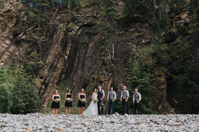 wedding party in a dry creek bed near Nordegg