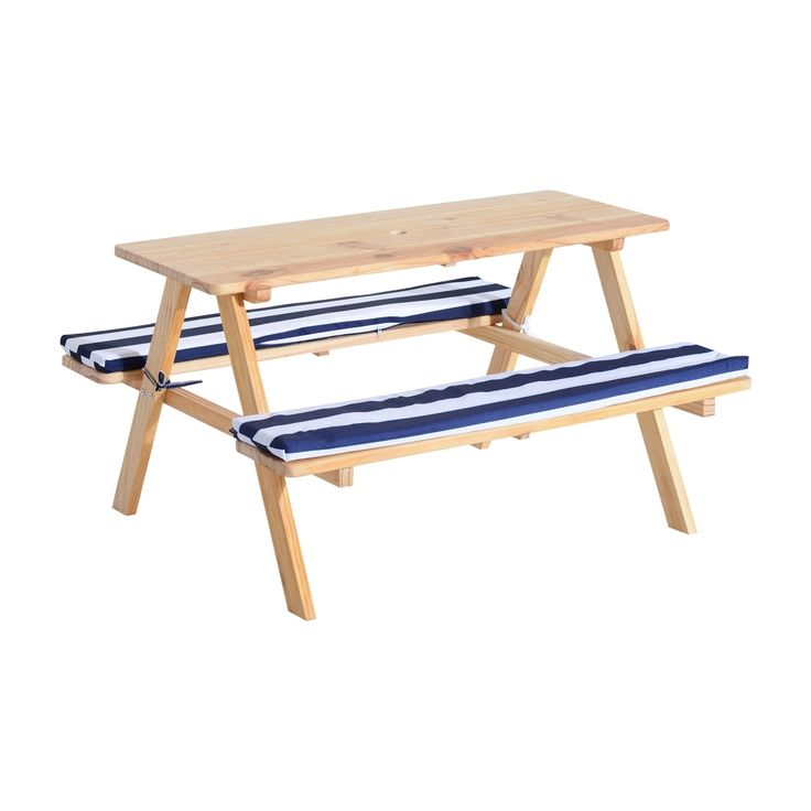 Qaba Wooden Outdoor Kids Picnic Table with Padded Benches, Brown, Patio Furniture (wood, sponge, polyester)