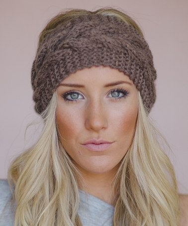 This Mocha Cable Knit Headband Made by Three Bird Nest - Women is perfect! #zulilyfinds