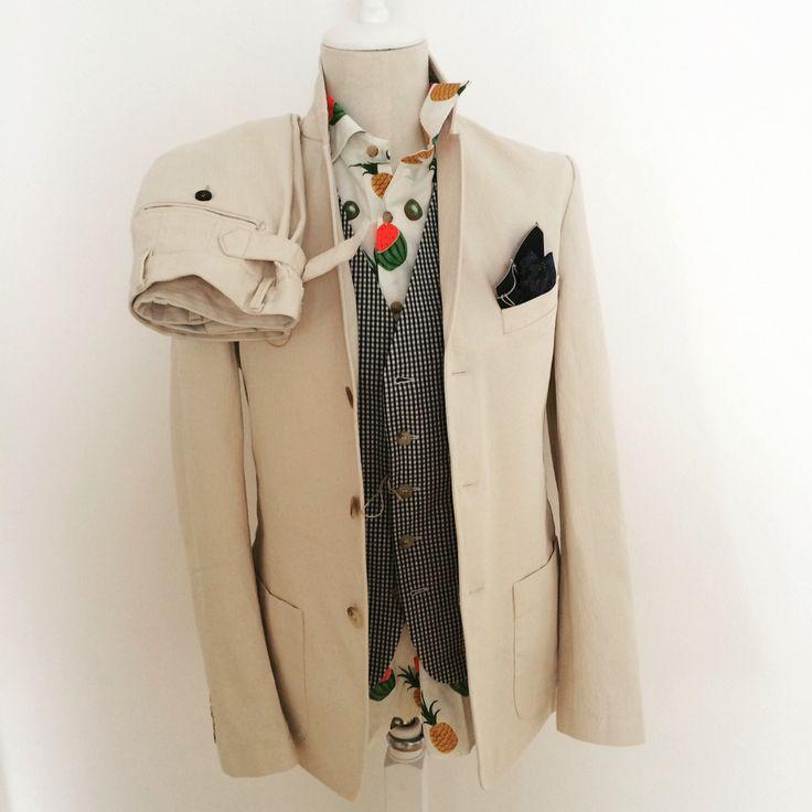 Ss16 cream herringbone denim suit with printed watermelon shirt by Mitchumm Industries