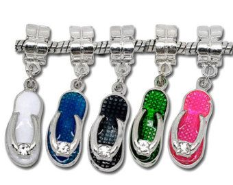Check out Flip flop slipper shoes multi colour  enamel and white rhinestone Dangle Bead for European Charm Bracelets Memory lockets on heavenlycow
