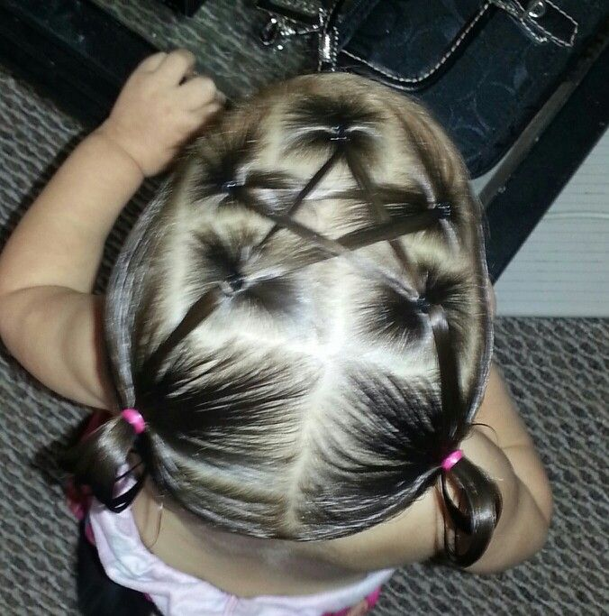 My favorite!  star hairstyle pigtails baby hairstyle toddler hairstyle hairstyle