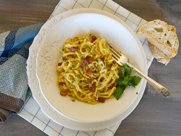 Use GF pasta for low-FODMAP! Classic Carbonara contains just a few ingredients and takes mere minutes to prepare. When properly executed, it's rich, creamy, and truly satisfying.