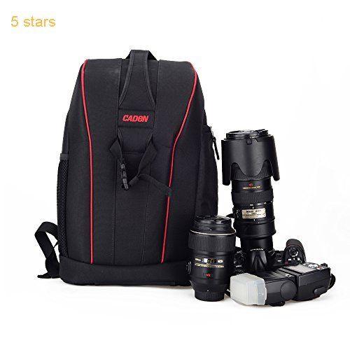 Caden Professional Anti-Theft Waterproof Shockproof DSLR SLR Camera Backpack Bag Case Dividers Insert for Canon Nikon Sony Olympus Panasonic Pentax Kodah For Men With tripod Holder