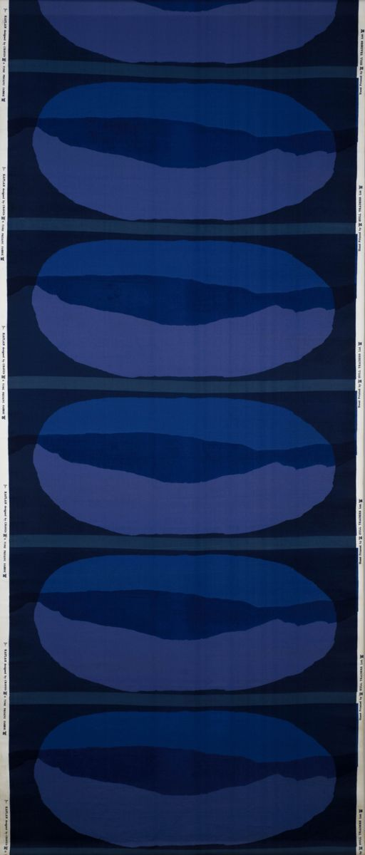 Kaplan Shrley Craven 1961  A vertical line of horizontal ovals containing abstract shapes in three shades of blue