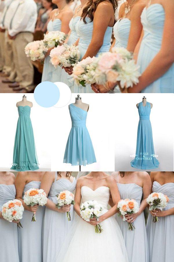 winter wedding color trends: ice blue winter bridesmaid dresses 2014