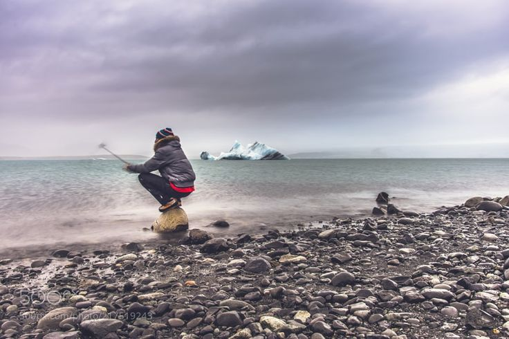 """Aeynisfjara Selfie by misterbay from http://500px.com/photo/217519243 - Jökulsárlón has been a setting for four Hollywood movies: A View to a Kill Die Another Day Lara Croft: Tomb Raider and Batman Begins as well as the """"reality TV"""" series Amazing Race. In 1991 Iceland issued a postage stamp with a face value of 26 kronur depicting Jökulsárlón (wiki). More on dokonow.com."""