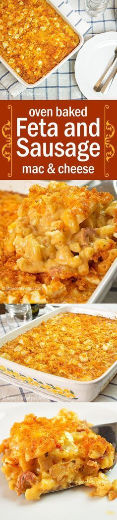 The perfect Thanksgiving dinner recipe: homemade oven baked mac and cheese! This creamy mac and cheese has an amazing smoked paprika crust and it's the perfect idea for a Holiday casserole. Enhanced with sausages, cheddar and feta it's extra cheesy and delicious! #feta #baked #mac&cheese #sausage #creamy