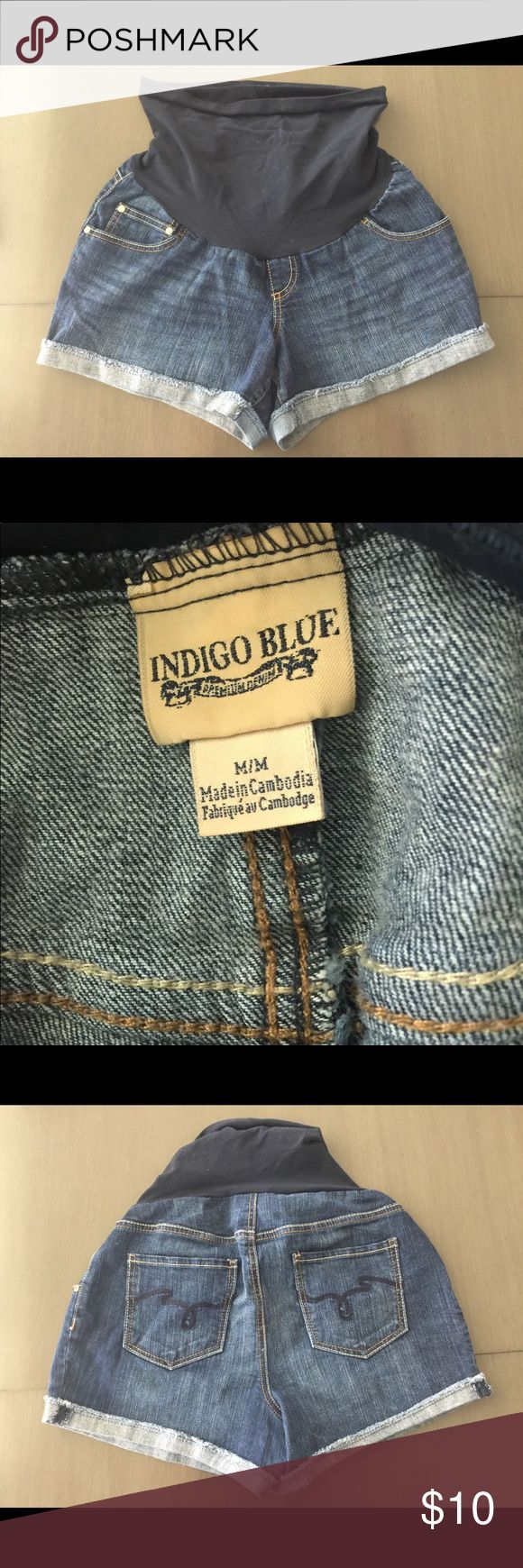 Motherhood Maternity Shorts indigo blue brand purchased from motherhood few years ago. gently worn, great condition, a lot of wear left in them. smoke free home. Indigo Blue Shorts Jean Shorts