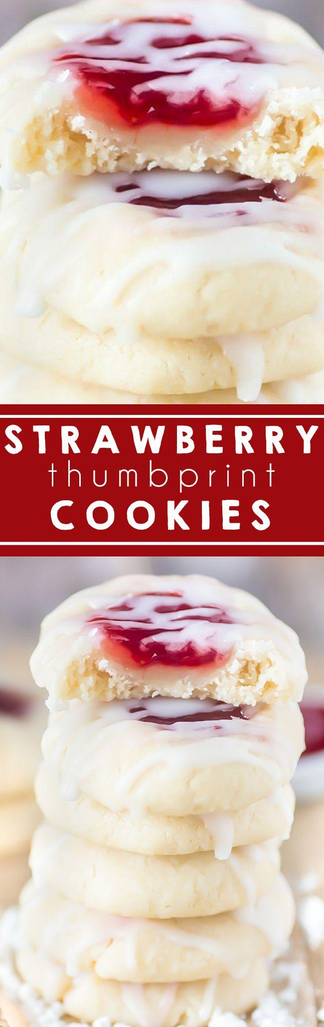 Strawberry Thumbprint Cookies I Almond Cookies I Butter Cookies I Jam Cookies I Jelly I Christmas Cookies I Old Fashioned  #thumbprintcookies #christmascookies #strawberry
